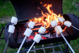 Marshmallow on metal skewer roasted on fire. Food photography - 193167545