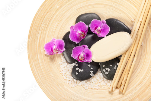 Staande foto Spa zen stone and orchid. spa concept