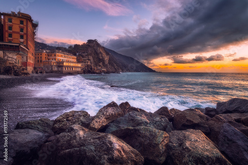 Foto op Aluminium Zee zonsondergang Camogli after the bad weather