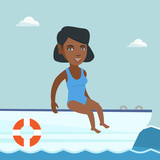 Young african-american woman tanning on the front of the yacht. Happy woman travelling by yacht. Woman resting during summer trip on the yacht. Vector cartoon illustration. Square layout.