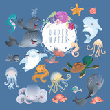 The set of cute sea, ocean, underwater animals - whale, dolphin, octopus, jellyfish, crab, fish, starfish and turtle - 193183382