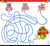 paths maze game with pigs and apples - 193184390