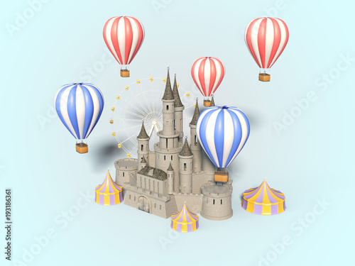 In de dag Amusementspark Amusement Park, Carnival, Fun Fair, Circus, Day Scene festival. 3d render