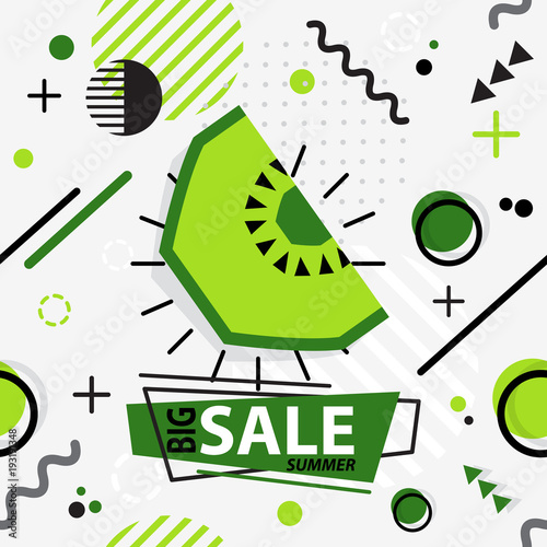 Trendy seamless, Memphis style kiwi geometric pattern, vector illustration - 193191348