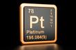 Platinum Pt chemical element. 3D rendering