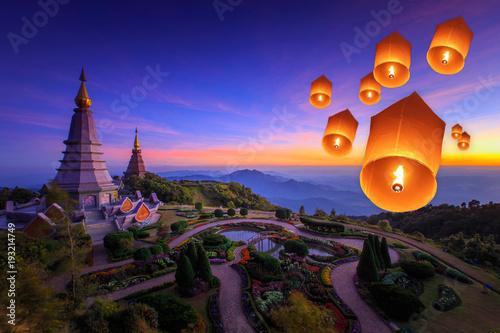 Fotobehang Bangkok Yee Peng firework festival in on big pagoda at Chiangmai Thailand, background