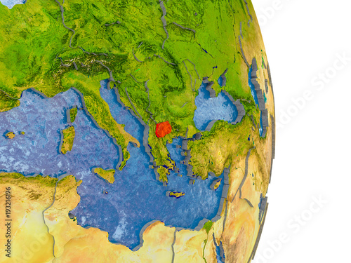 Macedonia on realistic globe