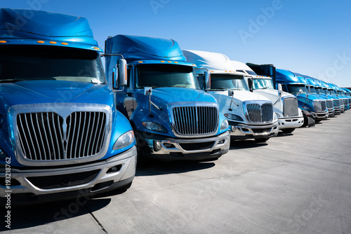 Fototapeta Fleet of blue 18 wheeler semi trucks