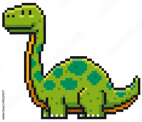 Vector illustration of Cartoon Dinosaur - Pixel design