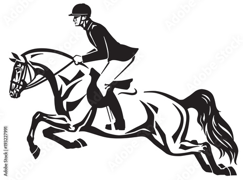 Fototapeta Horse and rider jumping over a fence.Equestrian stadium showjumping .Black and white side view isolated vector illustration. Logo design