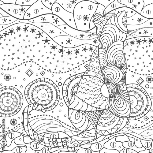 Wallpaper. Design Zentangle. Hand drawn zen square mandala with abstract patterns on