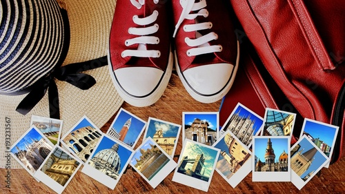 Fotobehang Milan Collage of landmarks, set of travel photos. Suitcase and tourist stuff on wooden background