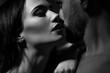 Leinwanddruck Bild - Black and white image of loving couple. Going to kiss.