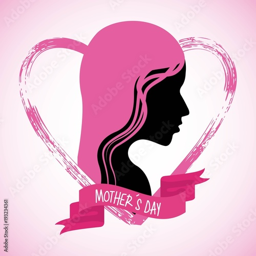 Foto op Canvas Vlinders in Grunge mothers day profile woman pink hair grunge heart vector illustration