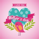 mothers day love you card dotted heart bird icon vector ilustration