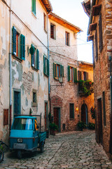 Cute village streets in San Gimignano - Italy.