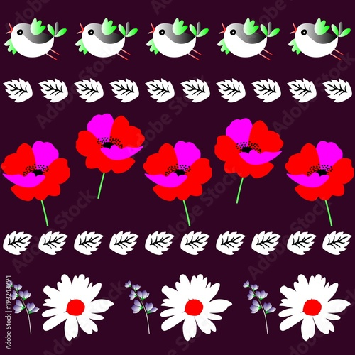 endless-border-with-funny-little-birds-leaves-poppies-and-daisies-in-vector-print-for-fabric