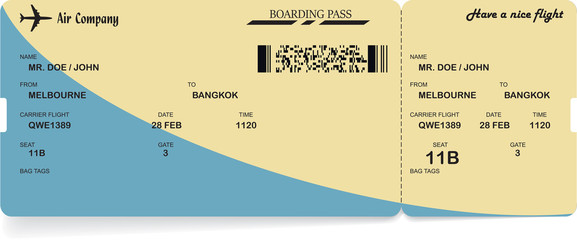Blue and yellow vector airline passenger and baggage boarding pass ticket with barcode. Concept of travel,journey or business trip