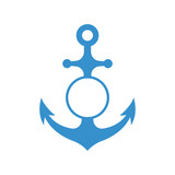 Nautical anchor with circle monogram isolated on white background. Blue sulhouette. Vector