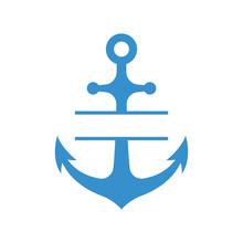 Nautical Anchor  Split Monogram    Blue Sulhouette  Sticker