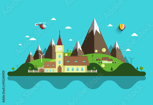 Fotobehang Turkoois Flat Design Landscape. Abstract Vector Rural Scene with Castle and Mountains.