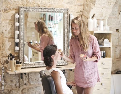 Foto op Canvas Kapsalon Make up at the hairdresser's
