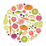 round design element with fruits and vegetables - 193248707