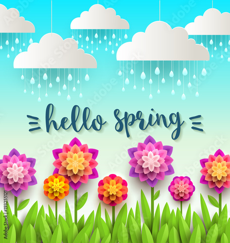 Fake paper nature scene with springtime greeting. Vector illustration.