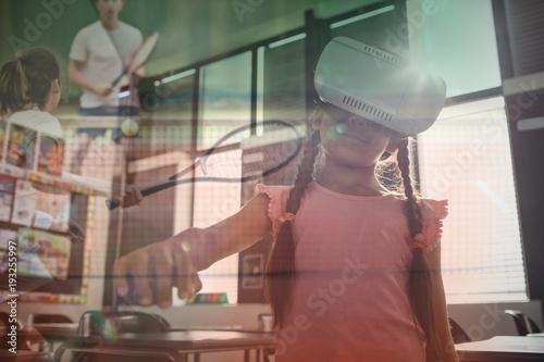 Fotobehang Tennis Composite image of girl wearing virtual reality simulator