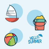 Hello summer icons cartoons - 193259720