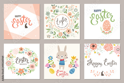 Cute Happy Easter templates with eggs, flowers,floral wreath,rabbit and typographic design. Vector illustration. - 193261769