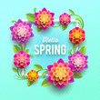 Spring greeting card with flowers.