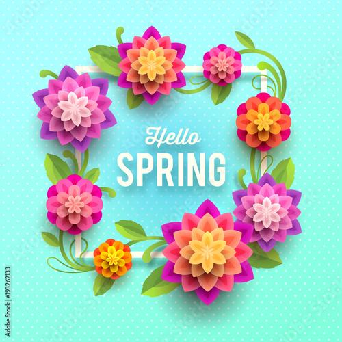 Wiosna z życzeniami z kwiatami.