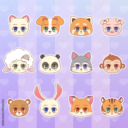 tiger, monkey, bear, panda, red, sheep, dog, puppy, cat, kitten, lamb, pig, wolf, fox, rabbit sticker set, colorful Sweet Little cute kawaii  cartoon character mascot  vector. - 193262733