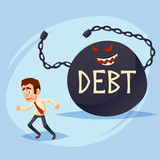 Funny Cartoon Character. frightened manager business man Office Worker runs away from Big Debt Weight. colorful vector Illustration - 193262913