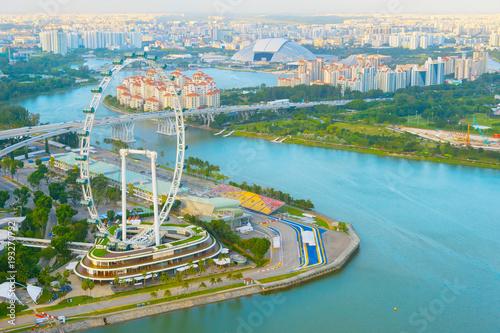Aluminium Singapore Flyer river aerial view