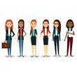 group of businesswoman with portfolio teamwork vector illustration design