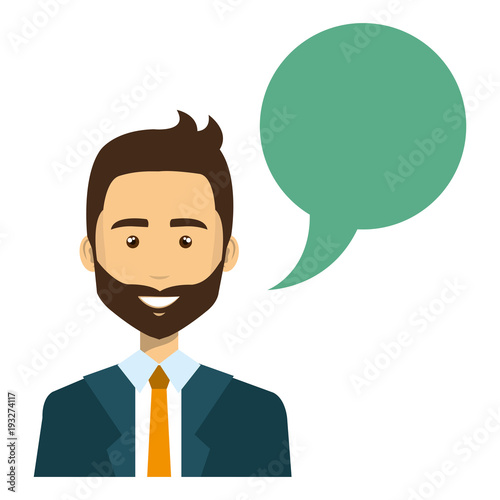 businessman with speech bubble vector illustration design