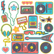 Colorful collection of eighties pop music style stickers, isolated vector designs on white background