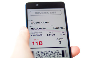 Man hand holding mobile phone with mobile boarding pass. Boarding pass is fake. Isolated over white background