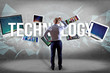 Technology title surounded by device like smartphone, tablet or laptop - Internet and communication concept