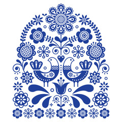 Folk art vector ornament with birds and flowers, Scandinavian navy blue floral pattern