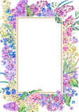 Watercolor floral spring vertical frame - 193290797