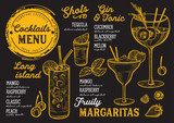 Cocktail bar menu. Vector drinks flyer for restaurant and cafe. Design template with vintage hand-drawn illustrations. - 193292716