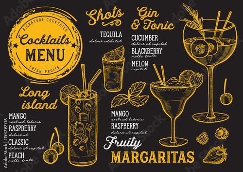 Fototapeta samoprzylepna Cocktail bar menu. Vector drinks flyer for restaurant and cafe. Design template with vintage hand-drawn illustrations.