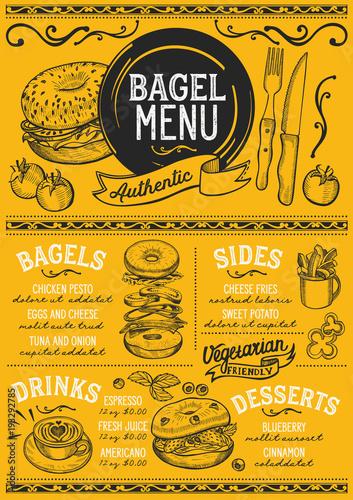 Sticker Bagels restaurant menu. Vector sandwich food flyer for bar and cafe. Design template with vintage hand-drawn illustrations.