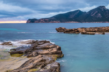 The picturesque fishing village of Sant Elm with the Sa Dragonera reserve in the background, Mjorca (Mallorca), Balearic Islands, Spain.