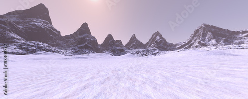 Aluminium Purper 3D Rendering Misty Mountains