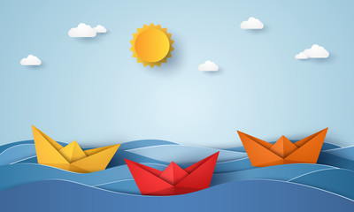 origami boat sailing in blue ocean , paper art style
