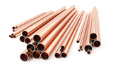 Stack of copper tubes isolated on white. Different sizes and diameters - 3D illustration - 193314163
